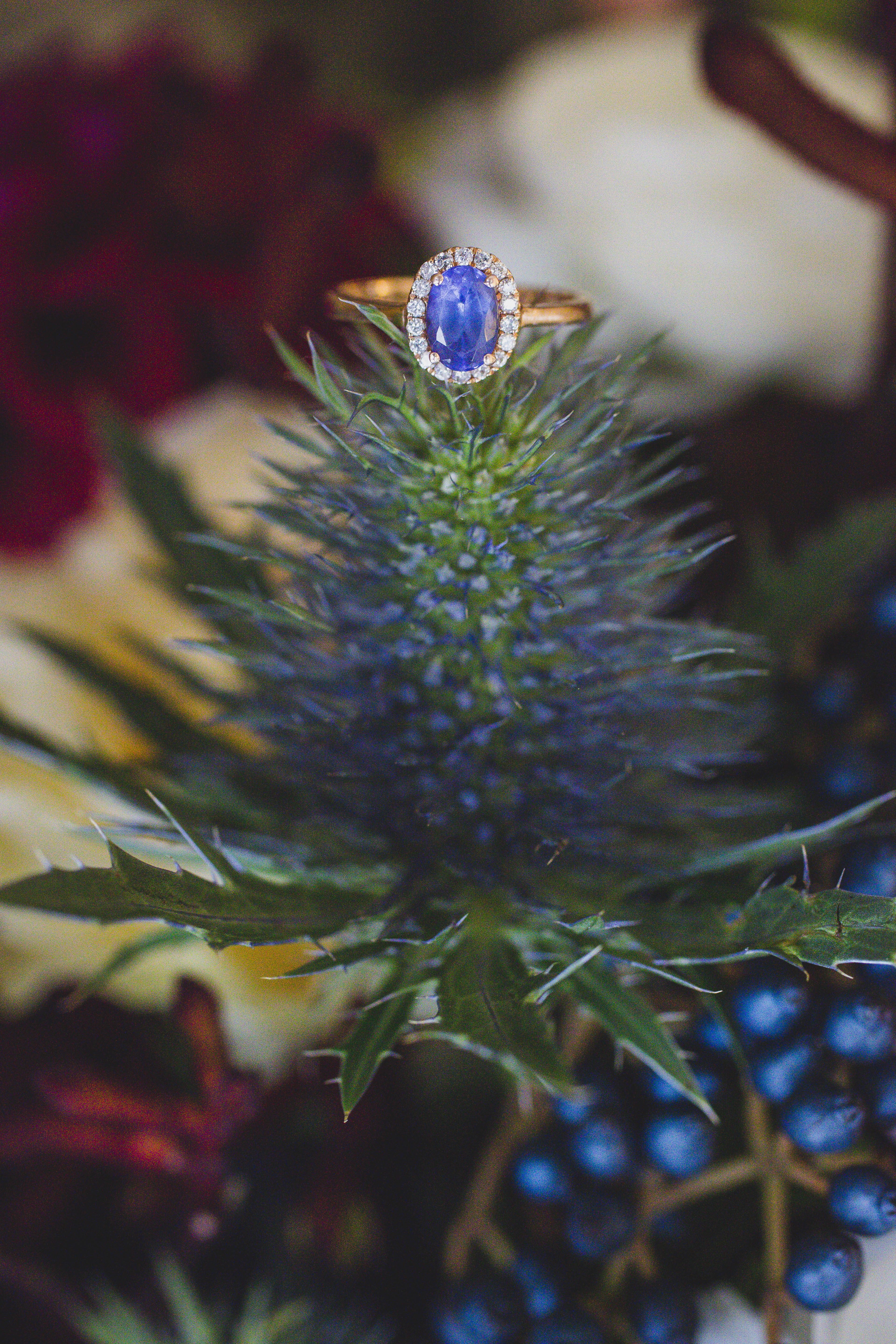 Bouquet Blue Thistle Sapphire Ring – Offbeat Bride – St.Lawrence Market Wedding – Toronto Wedding Photographer