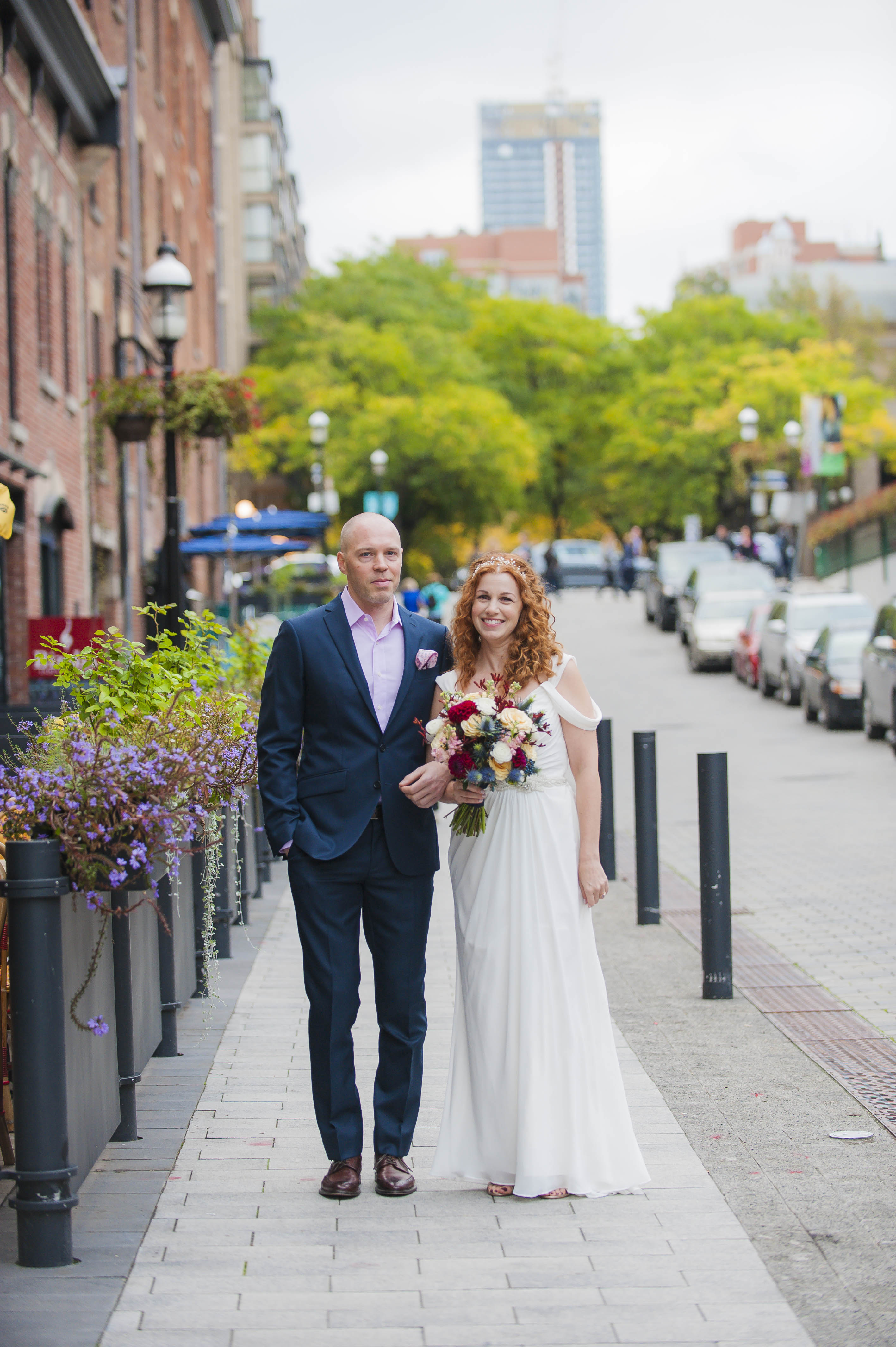Bride and Groom Portrait – Market Street – Offbeat Bride – St.Lawrence Market Wedding – Toronto Wedding Photographer
